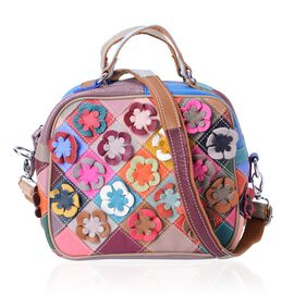 100% Genuine Leather Multi Colour 3D Flower Adorned Tote Bag with Shoulder Strap (Size 22x19x12 Cm)