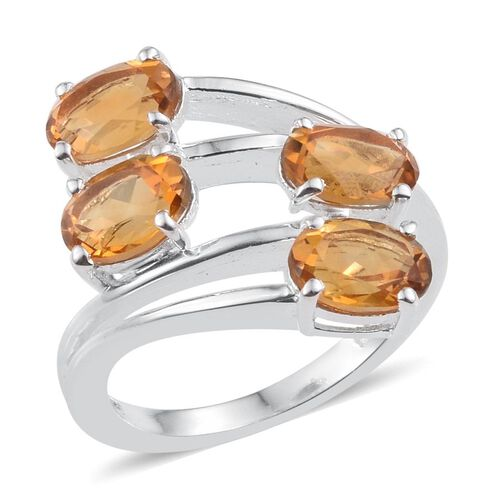 Citrine (Ovl) Crossover Ring in Sterling Silver 3.000 Ct.