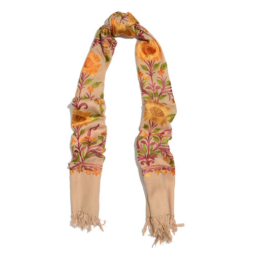 Limited Available - 100% Merino Wool Multi Colour Floral and Leaves Embroidered Beige Colour Scarf with Fringes (Size 190x70 Cm)