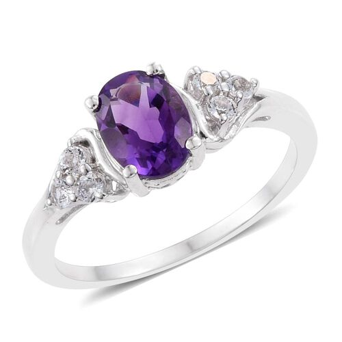 Amethyst, White Topaz 1.45 Ct Ring in Platinum Overlay Sterling Silver