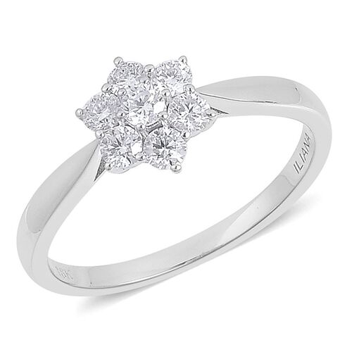 ILIANA 18K White Gold IGI Certified Diamond (Rnd) (SI G-H) 7 Stone Floral Ring 0.500 Ct.