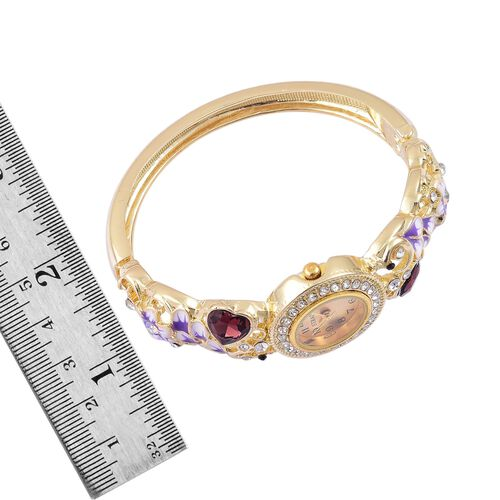 STRADA Japanese Movement Simulated Amethyst, White and Black Austrian Crystal Enameled Heart and Floral Design Bangle Watch in Gold Tone