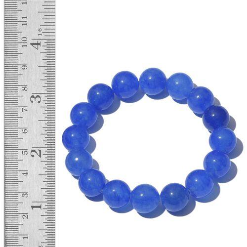 Blue Quartzite Stretchable Ball Beads Bracelet (Size 7.5) 160.000 Ct.