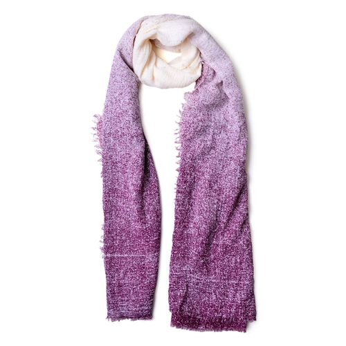 Designer Inspired - Violet and White Colour Ombre Pattern Scarf with Fringes (Size 180X90 Cm)