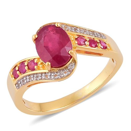 African Ruby (Ovl 2.50 Ct), Thai Ruby and White Topaz Ring in Yellow Gold Overlay Sterling Silver 3.000 Ct.