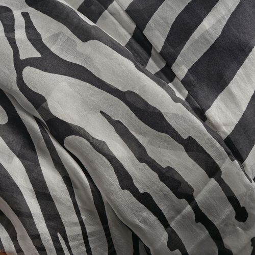 100% Mulberry Silk Black and White Colour Zebra Printed Kaftan (Free Size)