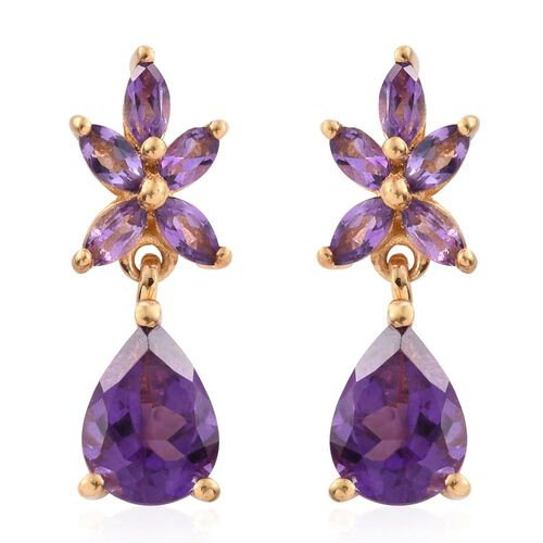 Amethyst (Pear) Earrings (with Push Back) in 14K Gold Overlay Sterling Silver 2.750 Ct.
