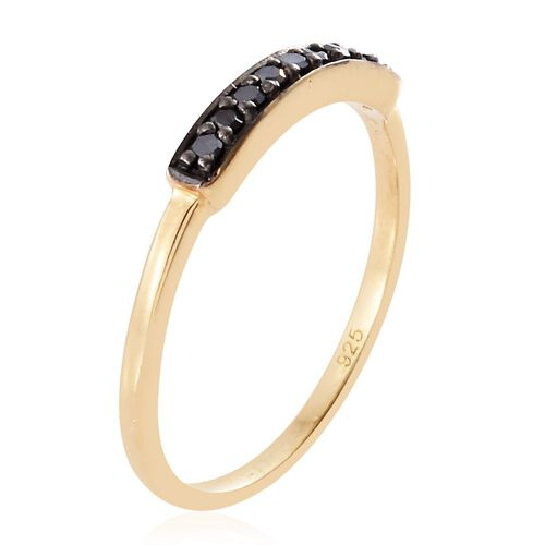 Black Diamond Silver Stacker Ring in Gold Overlay