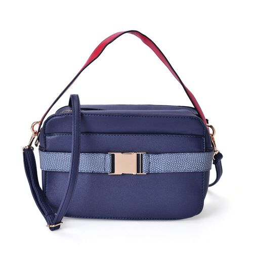 Navy, Grey and Red Colour Crossbody Bag with Adjustable and Removeable Shoulder Strap (Size 25x17x7.5 Cm)