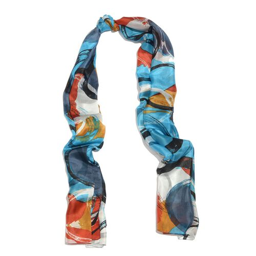 100% Mulberry Silk Blue, Orange and Multi Colour Circle Hand Screen Printed Scarf (Size 180X100 Cm)
