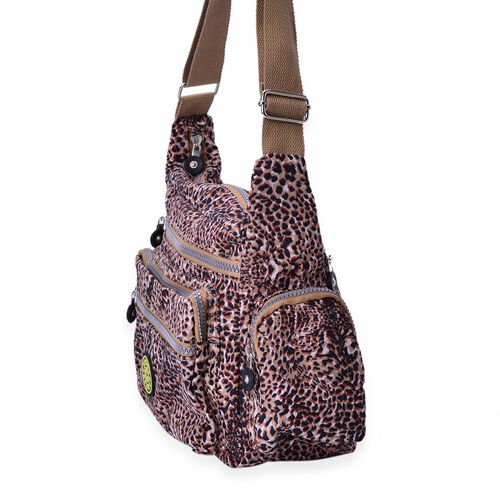 Chocolate Colour Leopard Pattern Waterproof Sports Bag with External Zipper Pocket and Adjustable Shoulder Strap (Size 27X23X10.5 Cm)
