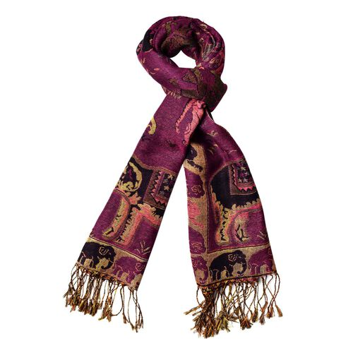 Black, Gold and Multi Colour Elephant Pattern Purple Colour Scarf with Tassels (Size 170x70 Cm)