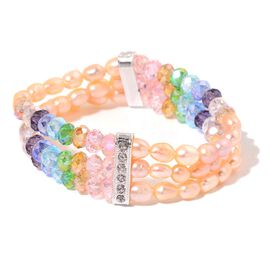 Fresh Water Peach Pearl, White Austrian Crystal and Simulated Multi Colour Diamond Stretchable Bracelet (Size 7.5) in Silver Tone