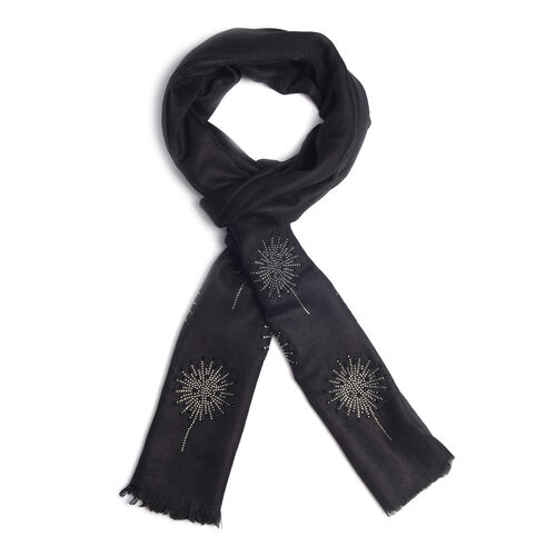 Limited Edition Black Colour New Zealand Super Fine Merino Wool and Silk Scarf with Crystal embellishment (Size 190x70 Cm)