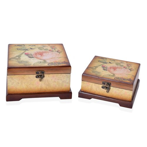 Set of 2 - Chocolate and Multi Colour Floral Pattern Vintage Style MDF Jewellery Box (Size 20X20X11.5 and 16.7X16.7X8 Cm)