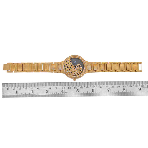 GENOA Japanese Movement Enameled Dial White Austrian Crystal Water Resistant Watch in ION Plated Gold Tone Strap