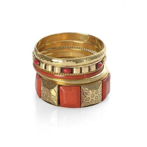 Jewels of India Handicraft Set of 6 Enamel Bangle (Size 7.5) in Gold Tone