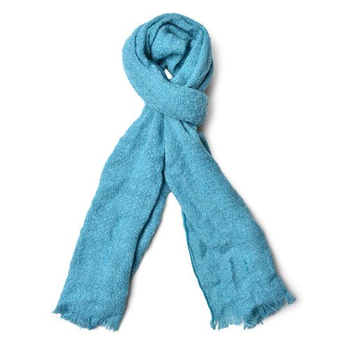 Italian Designer Inspired-Blue Colour Knitted Scarf with Fringes (Size 180X50 Cm)