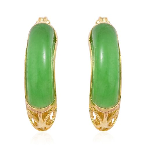 Green Jade Hoop Earrings (with Clasp Lock) in Yellow Gold Overlay Sterling Silver 10.000 Ct.