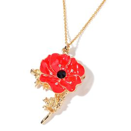 TJC Poppy Design - Black and White Austrian Crystal Red Colour Enameled Poppy Flower Brooch or Pendant With Chain (Size 20) in Yellow Stainless Steel