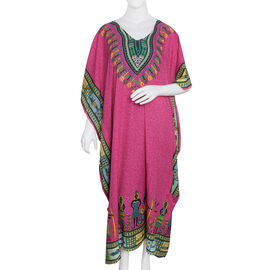 Pink, Blue, Green and Multi Colour Flower with Egypt Pattern Full Length Apparel (Size 125x70 Cm)