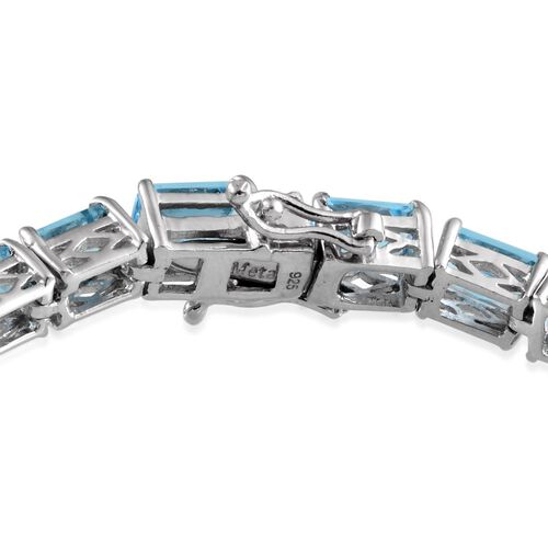 Electric Swiss Blue Topaz (Oct) Bracelet in Platinum Overlay Sterling Silver (Size 8) 26.500 Ct.