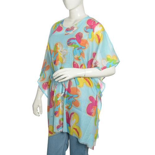 100% Cotton Sky Turquoise and Multi Colour Floral Printed Kaftan (Free Size)
