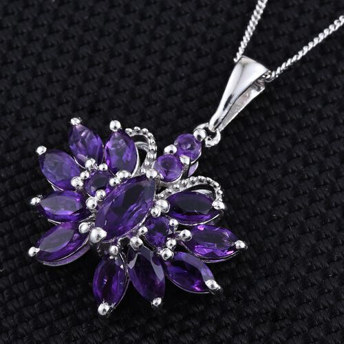 Amethyst (Mrq) Butterfly Pendant With Chain in Platinum Overlay Sterling Silver 2.750 Ct.