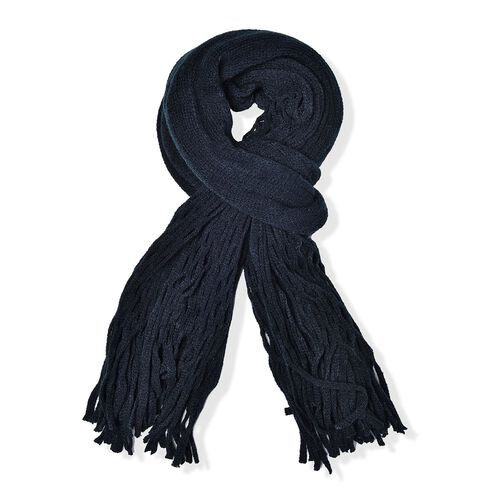 Net Design Knitted Black Colour Scarf with Fringes (Size 160x30 Cm)
