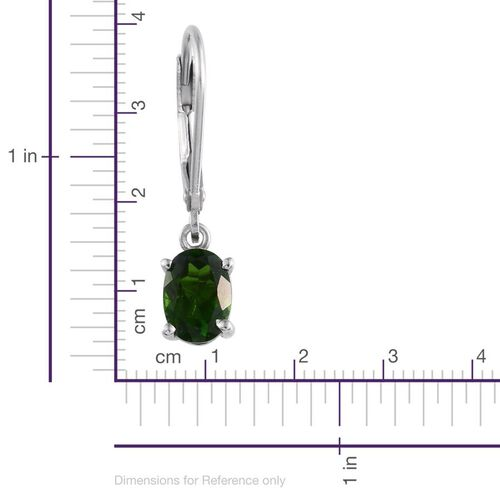 Russian Diopside (Ovl) Lever Back Earrings in Platinum Overlay Sterling Silver 1.500 Ct.