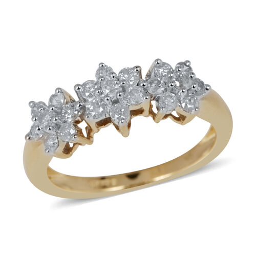 9K Y Gold SGL Certified Diamond (Rnd) (I3/G-H) Floral Ring 0.500 Ct.