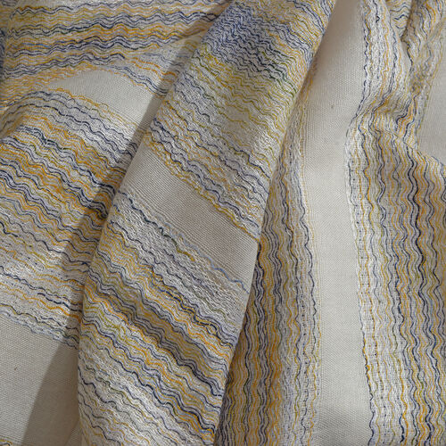 90% Cotton Yellow, Black and Silver Colour Buff Stripe Pattern White Colour Jacquard Scarf (Size 180x70 Cm)