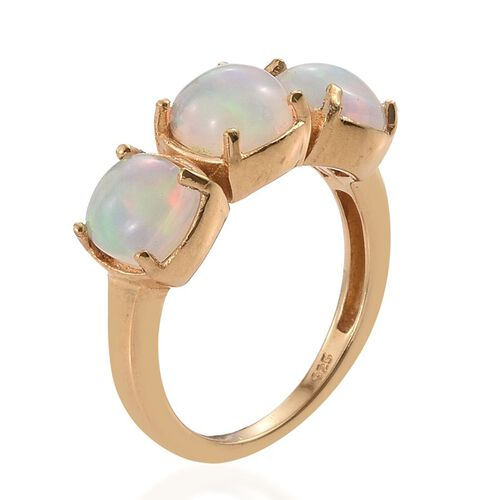 Ethiopian Welo Opal (Cush) Trilogy Ring in 14K Gold Overlay Sterling Silver 2.000 Ct.