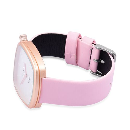 STRADA Japanese Movement Water Resistant Watch in Champagne Gold Tone with Stainless Steel Back and Pink Colour Strap