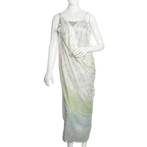 Green, Blue and White Colour Floral Pattern Sarong (Free Size)