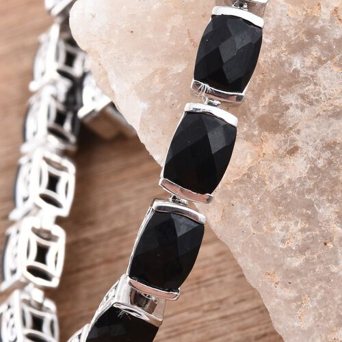 Black Tourmaline (Cush) Bracelet (Size 7.25) in Platinum Overlay Sterling Silver 30.750 Ct.