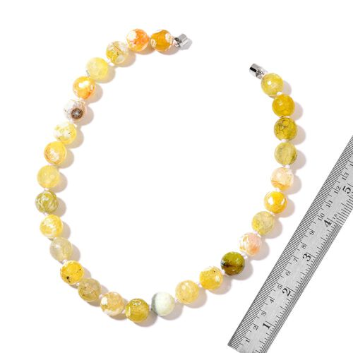Rare Size Yellow Agate Necklace (Size 18) and Stretchable Bracelet (Size 7.5) in Silver Tone 724.000 Ct.