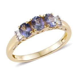9K Y Gold Peacock Tanzanite (Ovl), Diamond Ring 1.250 Ct.