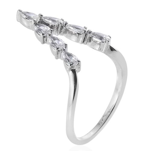 J Francis - Platinum Overlay Sterling Silver (Pear) Wishbone Ring Made with SWAROVSKI ZIRCONIA