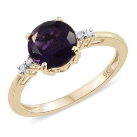 9K Yellow Gold 1.85 Ct. AA Amethyst Ring with Diamond