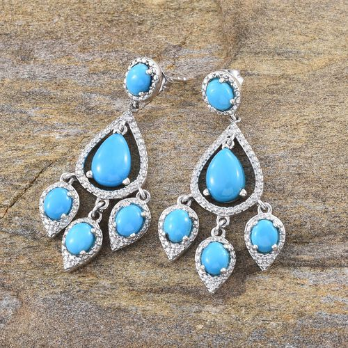 Arizona Sleeping Beauty Turquoise (Pear) Earrings (with Push Back) in Platinum Overlay Sterling Silver 3.500 Ct.