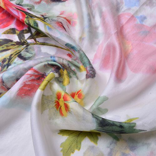 100% Mulberry Silk White, Red and Multi Colour Floral Pattern Scarf (Size 180X110 Cm)