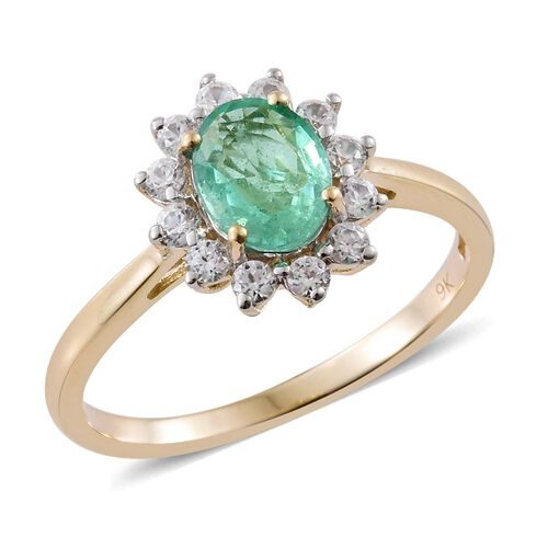 9K Y Gold AA Boyaca Colombian Emerald (Ovl 1.00 Ct), Natural Cambodian Zircon Ring 1.500 Ct.