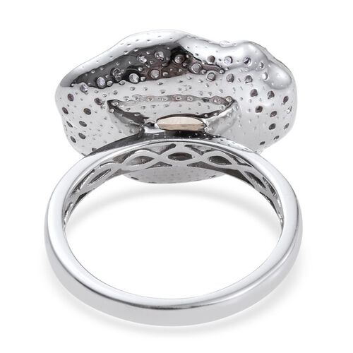 GP Rainbow Moonstone (Ovl 9.25 Ct), Kanchanaburi Blue Sapphire, Tanzanite and White Topaz Ring in Platinum Overlay Sterling Silver 10.250 Ct.