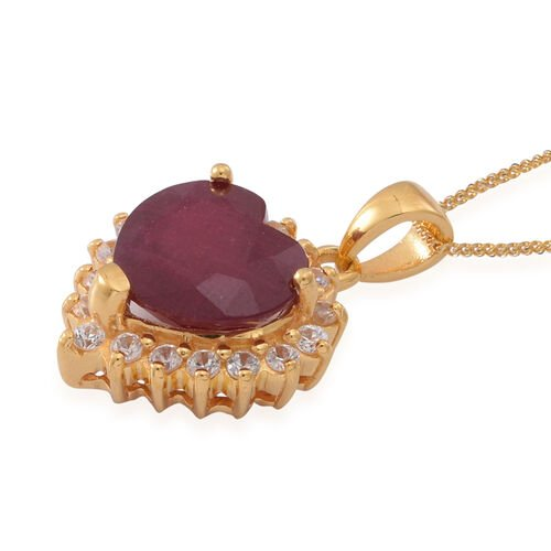 African Ruby (Hrt 7.50 Ct), Natural Cambodian White Zircon Pendant With Chain in 14K Gold Overlay Sterling Silver 8.500 Ct.