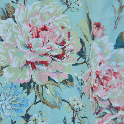 Green and Multi Colour Floral Printed Double Side Curtain (Size 230X167 Cm)