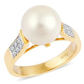 ILIANA 18K Yellow Gold AAA South Sea White Pearl (Rnd 10-10.5mm), Diamond (SI/G-H) Ring