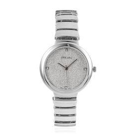 STRADA Japanese Movement Silver Stardust Dial Watch with White Austrian Crystal in Silver Tone