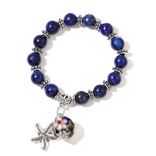 Set of 3 - Yellow Jade, Lapis Lazuli, Coral, Yellow Agate, Fresh Water White Pearl, Blue Howlite and Wooden Beads Stretchable Bracelet (Size 7.5) with Multi Charms in Silver Tone 431.000 Ct.