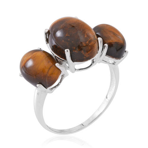 Tigers Eye (Ovl 9.00 Ct) 3 Stone Ring in Sterling Silver 15.000 Ct.